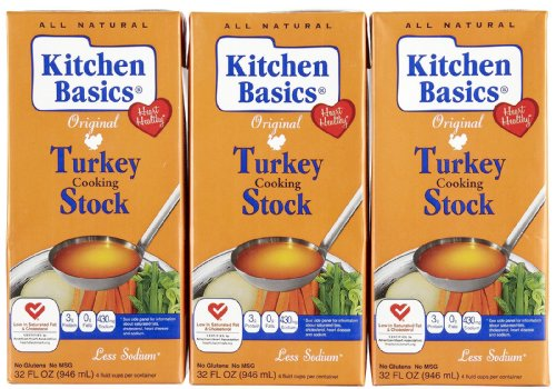 Kitchen Basics Turkey Stock (Gluten, Free), 32 oz, 3 ()