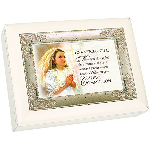 First Communion Special Girl Veil Glossy Ivory Silver Inlay Jewelry Music Box Plays Song Ave Maria -