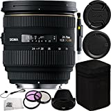 Sigma 24-70mm f/2.8 IF EX DG HSM Autofocus Lens for Nikon AF Bundle Includes Manufacturer Acccessories + 3PC Filter Kit + Lens Pen + Cap Keeper + Microfiber Cleaning Cloth
