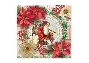 Punch Studio Holiday Beverage Napkins Santa Frame Poinsettia - 43240