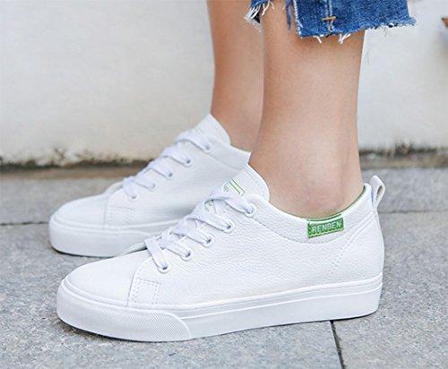 Aisun Damen Bequem Einfarbig Rund Zehe Niedrig Keilabsatz Schnürsenkel Sneakers Weiß-Grün