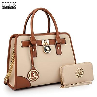 MMK Collection Fashion Classic Packlock Handbag for Lady(6892/6487) Signature fashion Designer Purse Handbag with spring colors~Perfect Women Satchel Purse~Beautiful Designer (6892W-BEIGE)