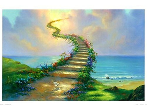 DIY Painting,oil painting on canvas wall art painting by number kit- jim warren stairway to heaven 16x20 inch (Without wood frame)