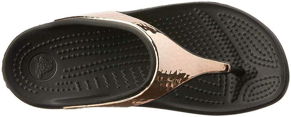 Crocs Womens Sloane Hammered Metallic Platform Flip
