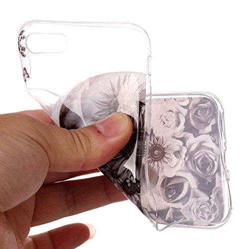 iPhone 8 Hülle, Modisch Schädel Transparent TPU Silikon Schutz Handy Hülle Handytasche HandyHülle Etui Schale Schutzhülle Case Cover für Apple iPhone 8