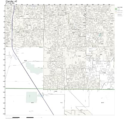 Amazon Com Zip Code Wall Map Of Chandler Az Zip Code Map Laminated