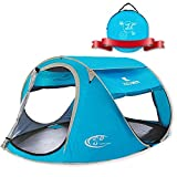 Pop Up Tent 4 Person, Beach Cabana Sun Shelter for Baby with UV Protection - Automatic and Instant Setup Tent for Family