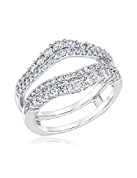 SRJEWELS Double Solitaire Enhancer Round 1.00ct Created Simulated CZ Diamonds Ring Guard Wrap Jacket 14K Gold Plated Alloy
