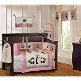 BabyFad Pink Monkey 10 Piece Baby Crib Bedding Set
