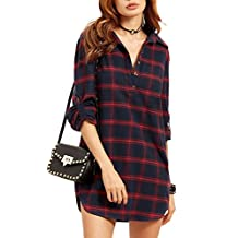 Women Casual Loose Long Sleeve Button Lapel Plaid Tunic Shirts Blouses