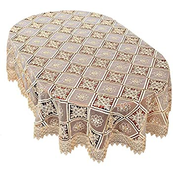 4e6f23aae7b Simhomsen Oval Beige Lace Tablecloth Embroidered Linens for Dining Table  Customer Order (60 x 84