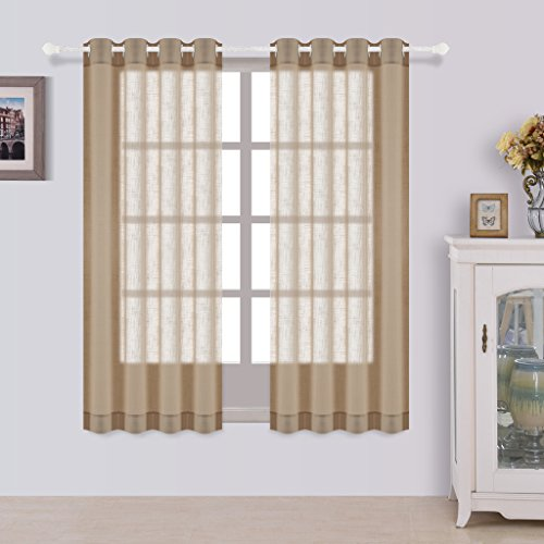 Best Dreamcity One Pair Faux Linen Semi-Sheer Curtains, Solid Grommet Top Drapes For Living Room, W52-Inch by L63 Inch, Taupe