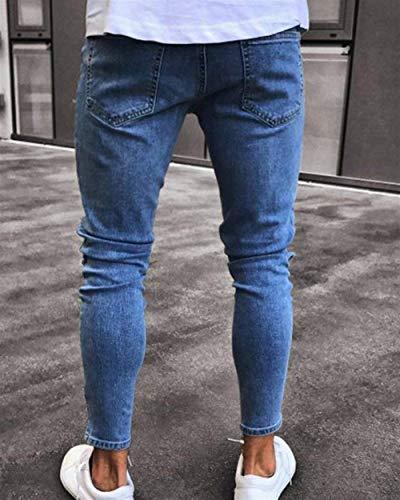 Stretch Con Uomo Fori Jeans Fit Destrutturati Ragazzo Slim Chern Denim Sportivi Da Attillati Hellblau Pantaloni 4qZEIRw