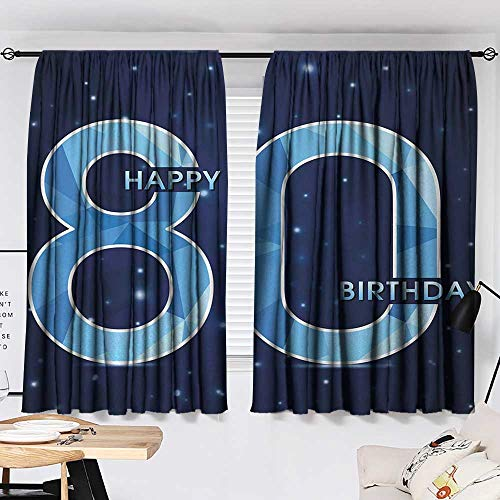 Jinguizi 80th Birthday Curtains/Panels/Drapes Diamond Age 80 Yeras Old Happy Birthday Party Theme with Stars Indoor Darkening Curtains Navy Blue and Sky Blue W55 x L39 by Jinguizi (Image #1)