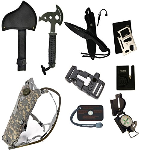 Ultimate Arms Gear Survival Camping Hiking Kit: Sharpener, Hatchet Axe, Fire Blade Knife, Whistle Flint Striker 3 In 1 Utility Belt Buckle, ACU Hydration Backpack, Multi Tool, Compass, Signal Mirror