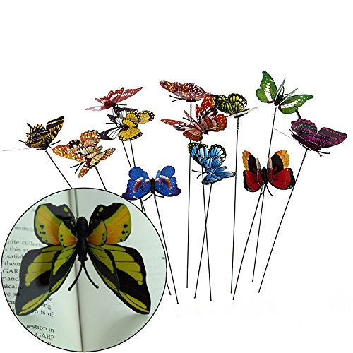 - Ginsco 12pcs Colorful 3D Wings Butterfly Stakes Yard Patio Garden Plant Pot Flower Bed Decor Miniature Fairy Garden Butterflies Decorations