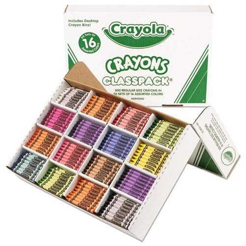 Classpack Regular Crayons, 16 Colors, 800/BX, Sold as 800 Each by Crayola