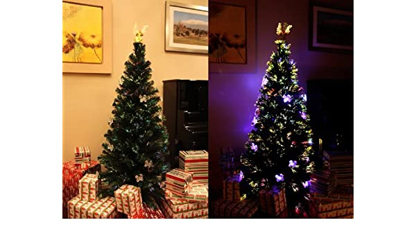 Amazon.com: 6.5 FT Prelit Fiber Optic & Multi Color LED Lights Artificial  Christmas Tree with Angle Topper and Stand: Home & Kitchen - Amazon.com: 6.5 FT Prelit Fiber Optic & Multi Color LED Lights
