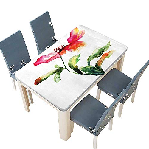 Grace Garden Bar Table - PINAFORE Polyester Tablecloth Decor Shaded Single Poppy Flowering Plant Muse in The Nature Earth Divine Grace Spillproof Tablecloth W61 x L100 INCH (Elastic Edge)