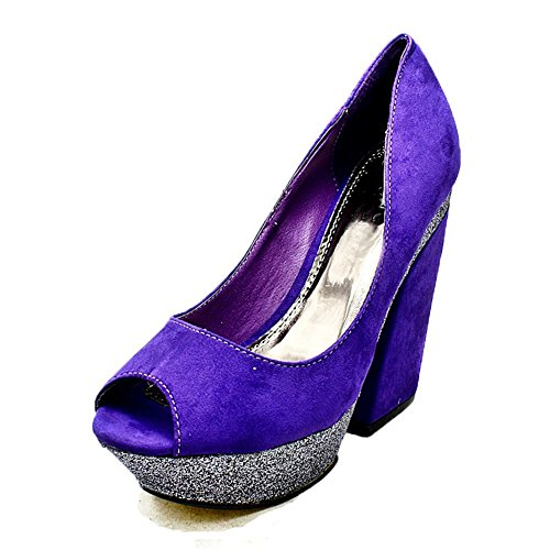 SendIt4Me Ladies Block Heel Court Shoes With Contrasting Platform Purple SEjw8