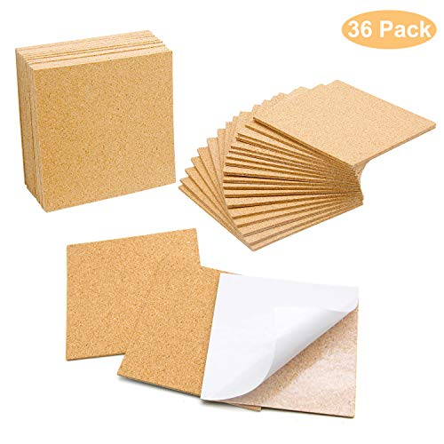 Blisstime 36 PCS SelfAdhesive Cork Sheets 4quotx 4quot for DIY Coasters Cork Board Squares Cork Tiles Cork Mat Mini Wall Cork Board with Strong AdhesiveBacked