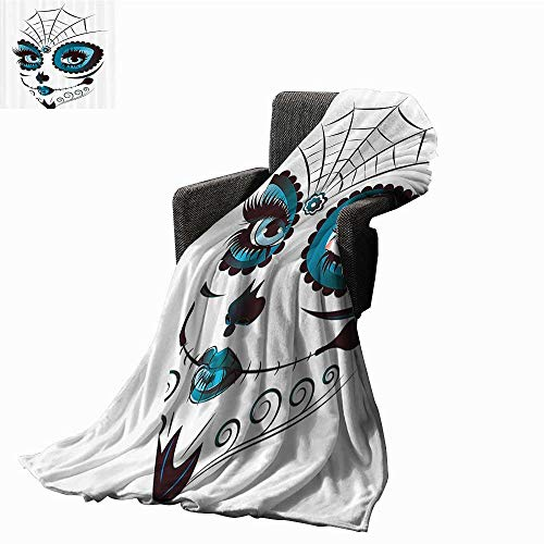 Skulls Decorations Collection Faux Fur Throw Blanket Graphic of Cute Dead Skull Teen Girl Face with Make Up and Ornate Design Print Traveling, Hiking, Camping , Full Queen , TV, Cabin 60