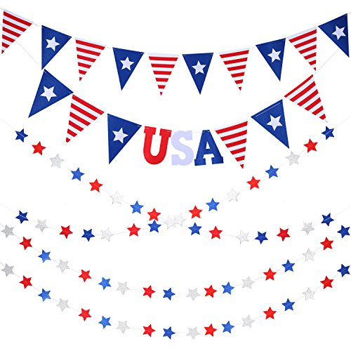 corations kit, Stars and Stripes Fourth of July Pennant Banner Red White Blue Star Streamers Banner/ Fourth of July Patriotic Decorations Banners for Decor Supplies (July Stars)