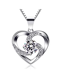 B.Catcher Necklace Chain with Love Heart Ladies Pendant, 925 Sterling Silver Box Chain '' Love is The Luck '' Jewelry Zirconia 45CM Chain Length Gift for Women