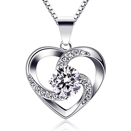 (B.Catcher Necklace Silver Jewelry for Women You are The Apple of My Eye Cubic Zirconia Heart Pendant with Chain)