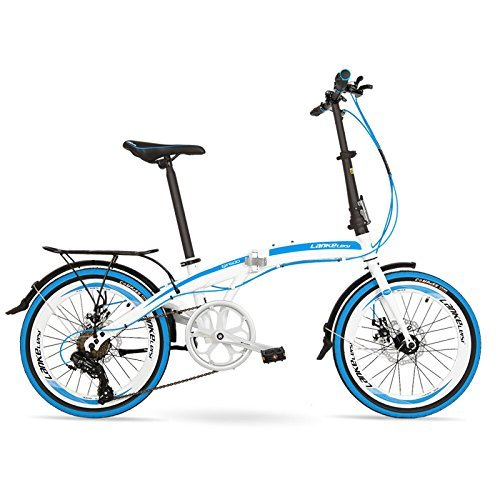 QF600G 20インチ折りたたみ自転車、7スピード折りたたみ自転車、高炭素鋼フレーム、BMX、両ディスクブレーキ B078Z6S98T 白靑 plus 白靑 plus