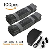 100 Pcs 7 Inch Cable Ties Hook and Loop Straps for Organizer Fastening (Black)
