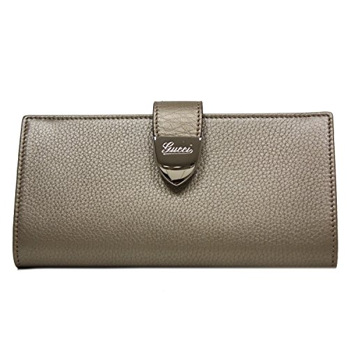 Gucci Signoria Buckle Beige Gold Metallic Leather Continental Wallet for Women - Gucci Discount Outlet