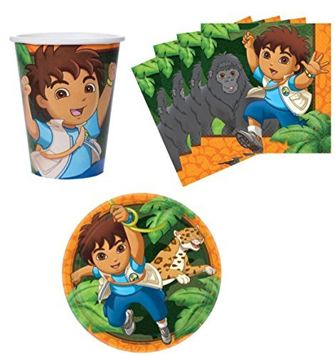 Go Diego Go! Birthday Party Supplies Set Plates Napkins Cups Kit for 16]()