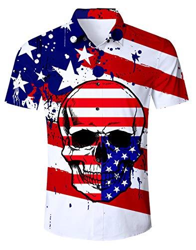 Fanient Men Summer Skull Flag Short Sleeve Shirts 3D Skull Printed Collar Button Down Beach Shirt M