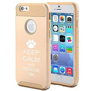 Apple iPhone 6 Plus / 6s Plus Shockproof Impact Hard Case Cover Keep Calm and Rescue On Animal Dogs Paw Print (Gold)