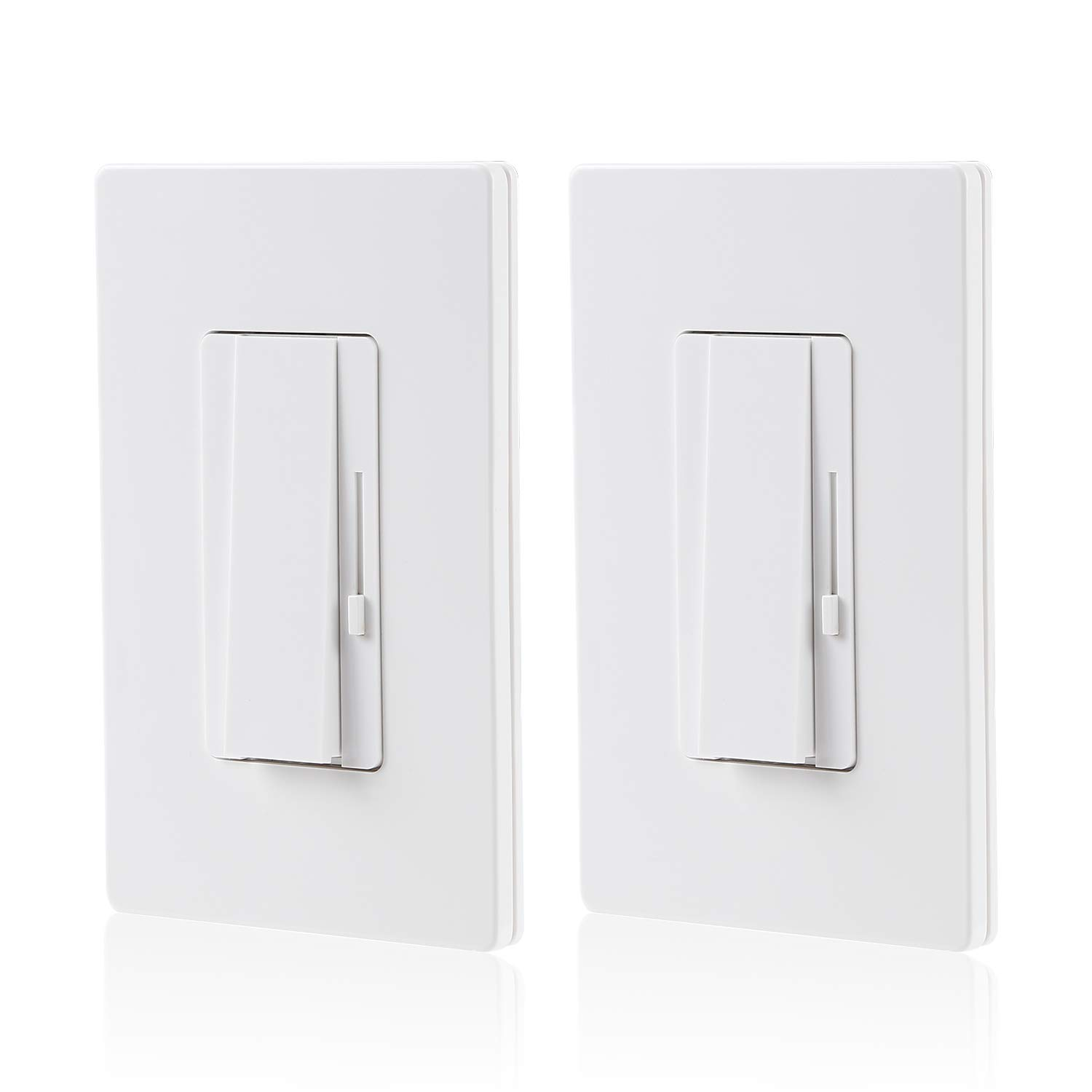 2 Pack 3 Way Single Pole Dimmer Switch Suit For 150w Led Cfl 600w Incandescent Halogen Both Applications Available Wall Plate Included