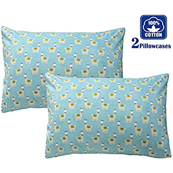 Amazon Com Brandream Blue Llama Alpaca Pillow Cases Set