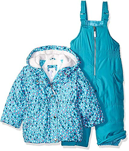Carter's Baby Girls 2-Piece Heavyweight Printed Snowsuit with Ears, Turquoise Hearts, 18M