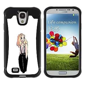 Be-Star único patrón Impacto Shock - Absorción y Anti-Arañazos Funda Carcasa Case Bumper Para SAMSUNG Galaxy S4 IV / i9500 / i9515 / i9505G / SGH-i337 ( Sweet Cute Girl White Blonde Drawing )