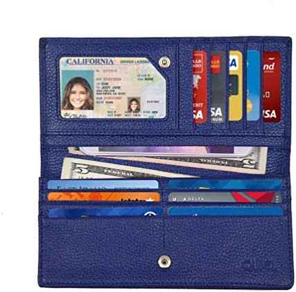 Women's RFID Blocking Ultra Slim Genuine Leather Clutch Wallet - Excellent Credit Card Protector by Qubel