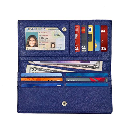 Women's RFID Blocking Ultra Slim Genuine Leather Clutch Wallet-Shield Against Identity Theft-Excellent Credit Card Protector for Women by Qubel (Blue) (Stores Lodi)