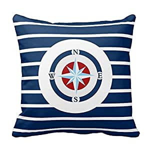 CBOutletArt Blue White Stripes Nautical Compass #112 Cotton Linen Decorative Throw Pillow Case Cushion Cover 18*18 Inch