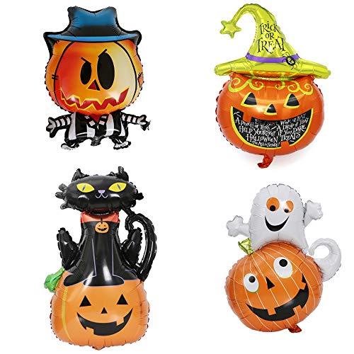 (Youzpin Halloween Pumpkin Ghost Bat Skeleton Black Cat Aluminium Foil Balloons,Bar Mall KTV Party Activity Space Decorative Props,Children Play Game Reward Toy Balloon(4 Pcs)