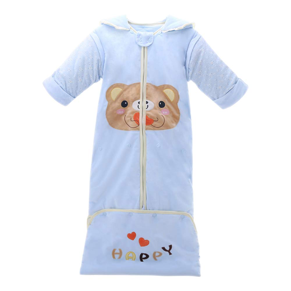 BOZEVON Saco De Dormir para Beb/és Patr/ón De Animales Dibujos Animados C/álido Suave Y Transpirable con Mangas Removibles Saco De Dormir 1-6 A/ños
