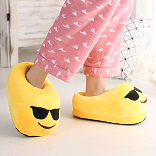 Emoji Plush Slippers Funny Cartoon Winter Unisex Glasses Indoor Warm Shoes Cute Adult Soft 44qrCw0
