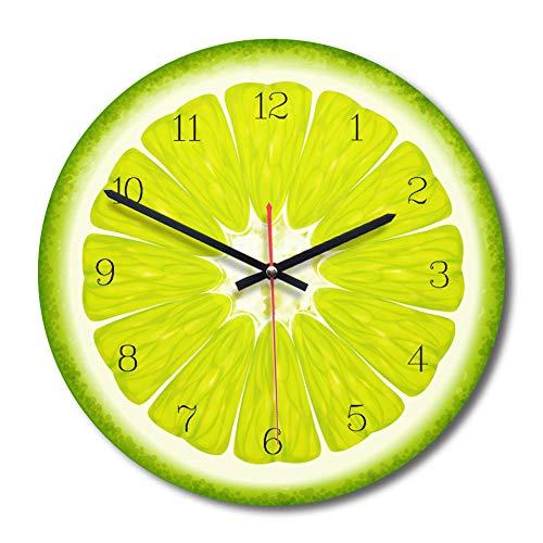 WADCRmgyx Reloj de Pared de Vidrio de Pomelo de Fruta Creativa Reloj de Cocina Moderno Reloj Decoración para el hogar…