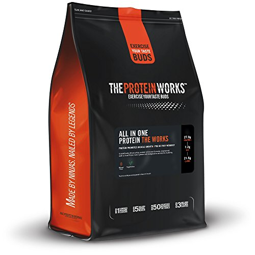 The Protein Works All In One Protein, Advanced High Protein Powder Shake with Creatine Monohydrate, Glutamine, Leucine, Strawberries n Cream, 2 kg