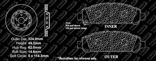 KT078381 E-Coated Slotted Drilled Rotors + Ceramic Pads Max Brakes Front Elite Brake Kit Fits: 2009 09 2010 10 2011 11 2012 12 Toyota Venza