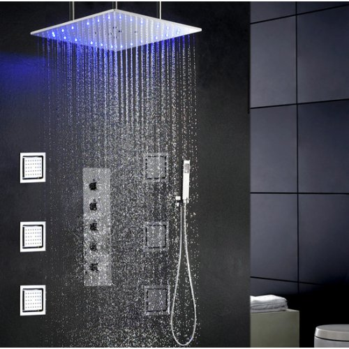 Sprinkle® Spa Massage LED Shower Faucet With 20 Inch LED Color Changing Ceil Mounted Shower Head,6 Pcs Big Spa Body Massage Spray, Stainless Steel Swash And Rainfall Bathroom Shower Faucet