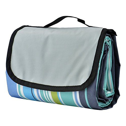 COZYSWAN Picnic Mat 59''x79'' Striped Handy Beach Blanket]()